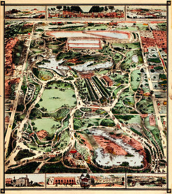 Citys Painting - Map Of New York Citys Central Park 1860 by MotionAge Designs
