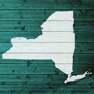 Map Of New York Mixed Media - Map Of New York State Outline White Distressed Paint On Reclaimed Wood Planks by Design Turnpike