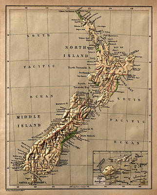 Vintage Map Photograph - Map Of New Zealand 1880 by Andrew Fare