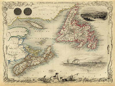 Vintage Map Photograph - Map Of Newfoundland 1851 by Andrew Fare