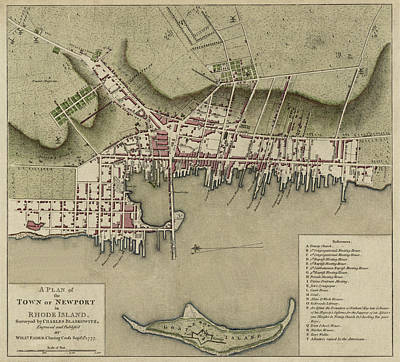 Vintage Map Photograph - Map Of Newport 1777 by Andrew Fare