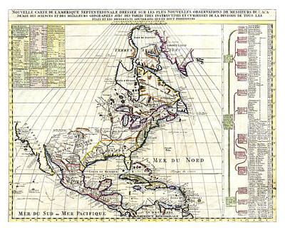 Old Map Painting - Map Of North America By Chatelain - 1720 by Pablo Romero