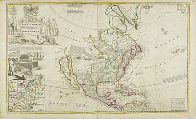 Cartography Photograph - Map Of North America Dated 1715 by British Library