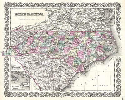 Drawing - Map Of North Carolina by Joseph Hutchins Colton