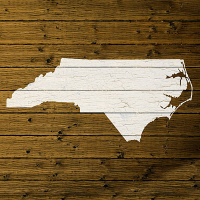 Map Of North Carolina State Outline White Distressed Paint On Reclaimed Wood Planks. Art Print by Design Turnpike