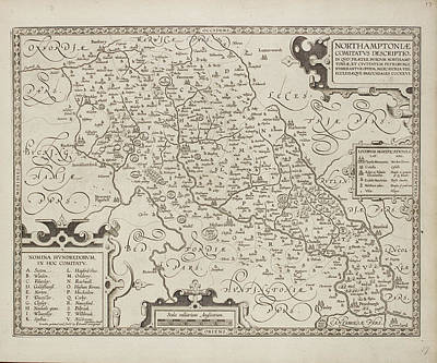 Map Of Northamptonshire Art Print by British Library