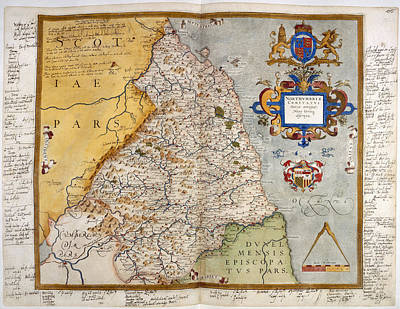 Cartography Photograph - Map Of Northumberland by British Library