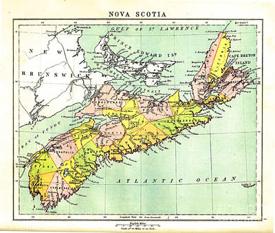 map of Nova Scotia - 1878 Art Print