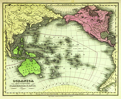 Pacific Ocean Drawing - Map Of Oceania, Also Known As Oceanica, Is A Region Centred by Litz Collection
