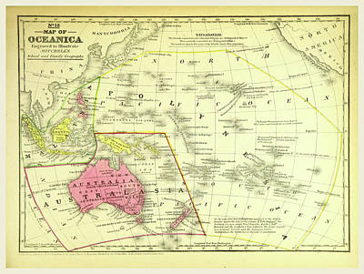 Oceania Drawing - Map Of Oceanica, Oceania by Litz Collection