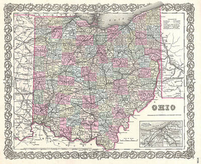 Drawing - Map Of Ohio by Joseph Hutchins Colton