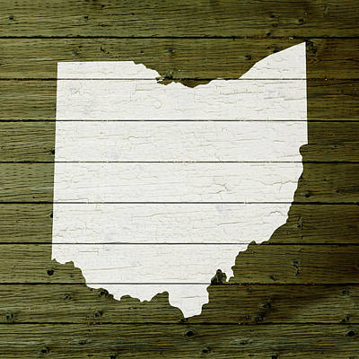 Reclaimed Wood Wall Art - Mixed Media - Map Of Ohio State Outline White Distressed Paint On Reclaimed Wood Planks by Design Turnpike