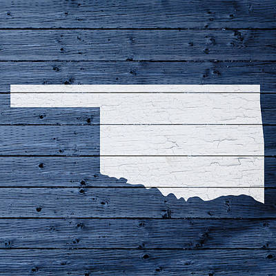 Oklahoma Mixed Media - Map Of Oklahoma State Outline White Distressed Paint On Reclaimed Wood Planks by Design Turnpike