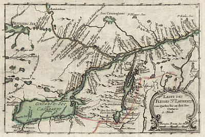 Old Montreal Photograph - Map Of Ontario 1760 by Andrew Fare