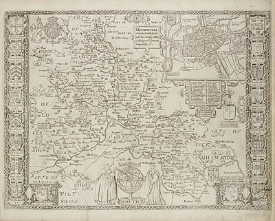 Map Of Oxfordshire And Central England Art Print