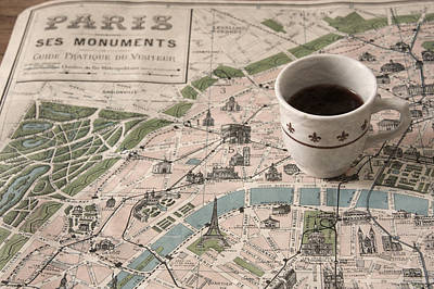 Peach Photograph - Map Of Paris And Demi Tasse by Brooke T Ryan