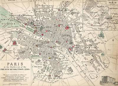 French Revolution Drawing - Map Of Paris At The Outbreak Of The French Revolution by French School