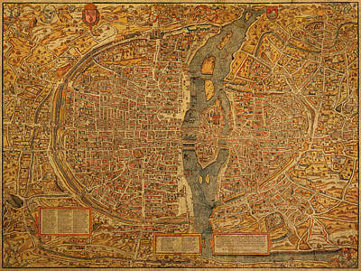 Map Of Paris France Circa 1550 On Worn Canvas Art Print