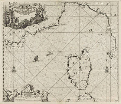 Sea Lion Drawing - Map Of Part Of The Mediterranean Coast Of France by Anonymous And Johannes Van Keulen I