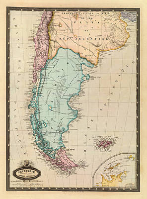 Vintage Map Photograph - Map Of Patagonia 1860 by Andrew Fare