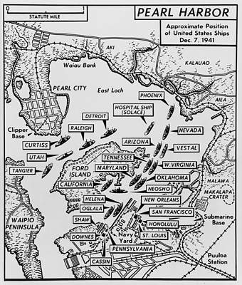 Ww 2 Photograph - Map Of Pearl Harbor With Location by Everett