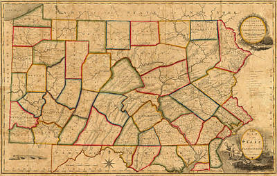 Vintage Map Photograph - Map Of Pennsylvania 1811 by Andrew Fare