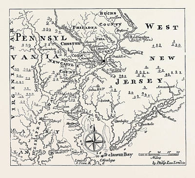 Pennsylvania Drawing - Map Of Pennsylvania And West New Jersey by English School