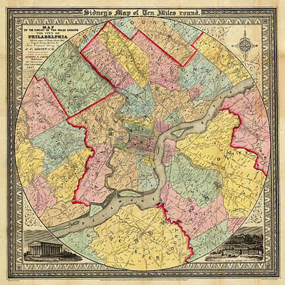 Vintage Map Photograph - Map Of Philadelphia 1849 by Andrew Fare