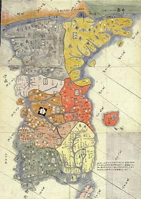 Map Of Provinces Of Korea Art Print