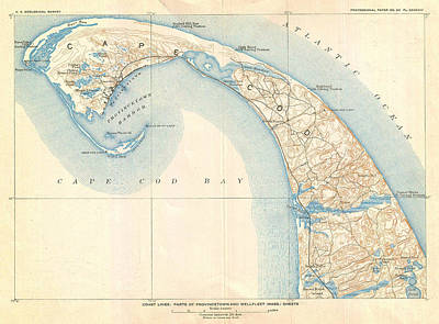 Caribbean Sea Painting - Map Of Provincetown Cape Cod Massachusetts by Celestial Images
