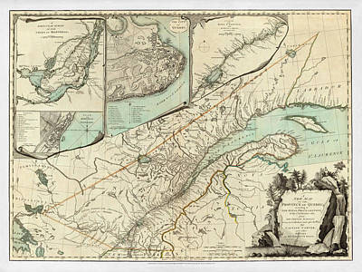 City Of Montreal Photograph - Map Of Quebec 1776 by Andrew Fare