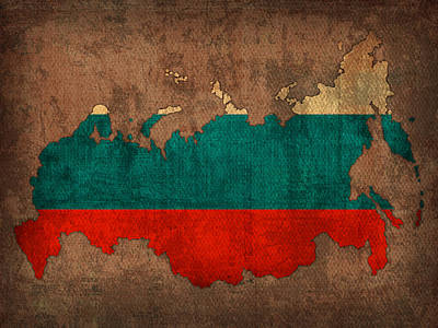 Mixed Media - Map Of Russia With Flag Art On Distressed Worn Canvas by Design Turnpike