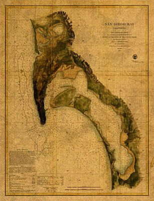 San Diego Mixed Media - Map Of San Diego Bay California Circa 1857 On Worn Distressed Canvas Parchment by Design Turnpike