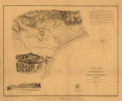 Of Santa Barbara Photograph - Map Of Santa Barbara 1853 by Andrew Fare