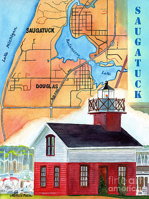 Painting - Map Of Saugatuck by LeAnne Sowa