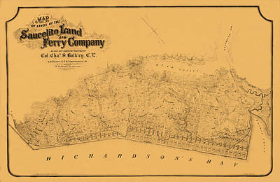 Sausalito Photograph - Map Of Sausalito 1868 by Andrew Fare