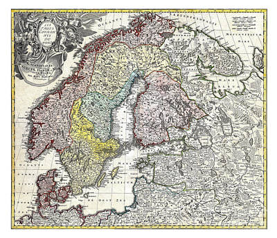 Old Map Painting - Map Of Scandinavia Norway Sweden Denmark Finland And The Baltics By Homann - 1730 by Pablo Romero