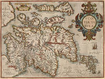 Painting - Map Of Scotland by Abraham Ortellius