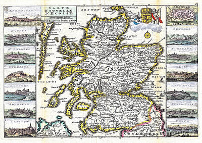 Old Map Painting - Map Of Scotland By La Feuille - 1747 by Pablo Romero