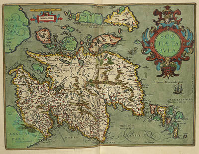 Map Of Scotland Drawn In 1601 Art Print by British Library
