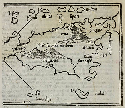 Cartography Photograph - Map Of Sicily And The Islands by British Library