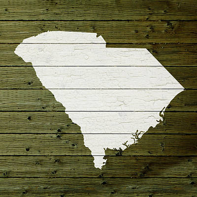 Reclaimed Wood Wall Art - Mixed Media - Map Of South Carolina State Outline White Distressed Paint On Reclaimed Wood Planks by Design Turnpike