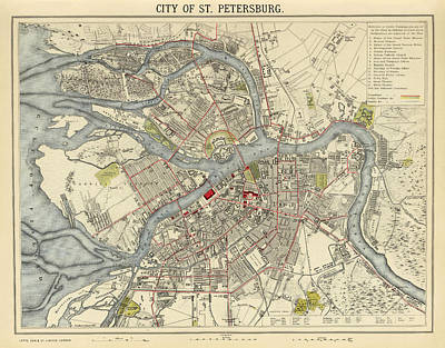 Vintage Map Photograph - Map Of St. Petersburg 1883 by Andrew Fare