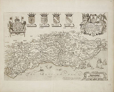 Map Of Sussex Corrected Art Print by British Library