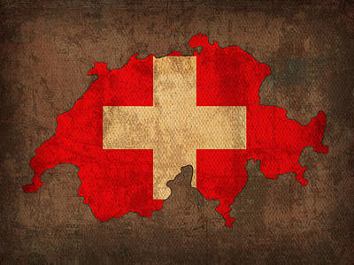 Map Of Switzerland With Flag Art On Distressed Worn Canvas Art Print