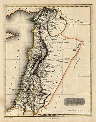 Old Map Photograph - Map Of Syria 1817 by Andrew Fare