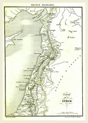 Map Of Syria, Syrian Arab Republic, Is A Country In Western Art Print by Litz Collection