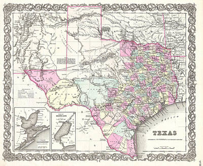 Drawing - Map Of Texas by Joseph Hutchins Colton