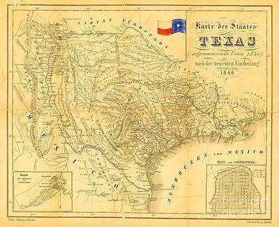 Texas Drawing - Map Of Texas  by Pg Reproductions