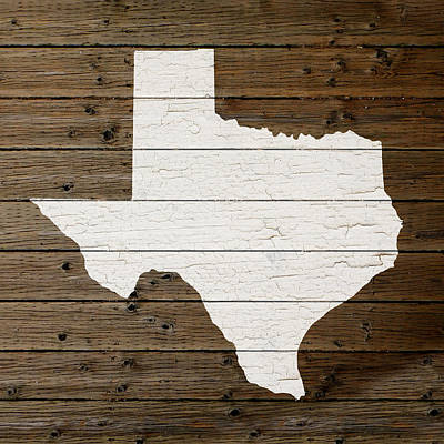 Map Of Texas State Outline White Distressed Paint On Reclaimed Wood Planks Art Print